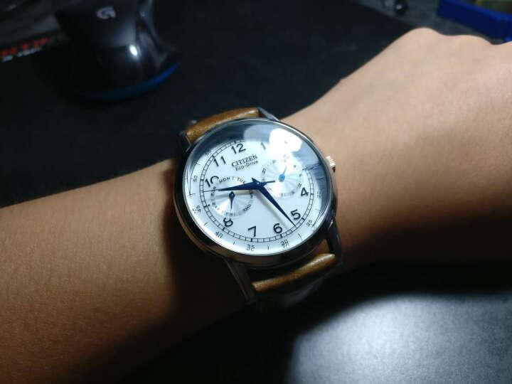 西铁城(CITIZEN)手表 光动能小牛皮表带金色时分针白盘男表AO9003-16A 晒单图