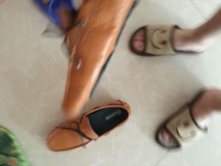 古洋城新款男鞋透气豆豆鞋男牛皮男士休闲皮鞋驾车鞋套脚懒人鞋夏季 mz-18606-黑色 39 晒单图