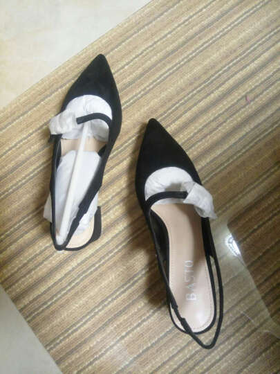 BASTO/百思图夏羊绒布时尚优雅女后空凉鞋0591DBL7 黑色 36 晒单图