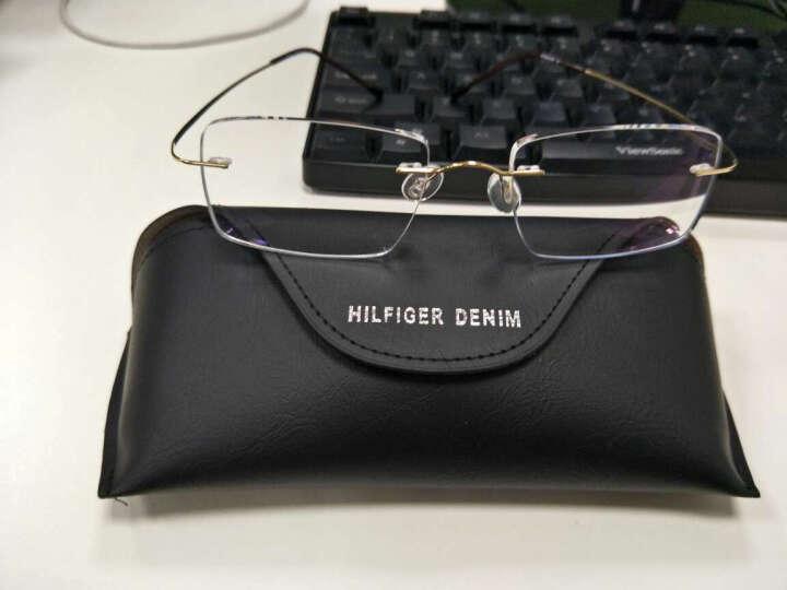 菲格牛仔眼镜2019明星同款眼镜框超轻纯钛无框金丝眼镜架男女款定制切边近视眼镜 镜架+1.61防辐射镜片 晒单图