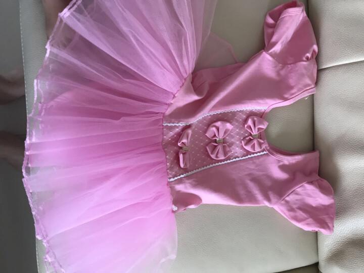 长袖儿童舞蹈服装女童短袖芭蕾舞裙少儿练功服幼儿体操服演出服 粉色长袖款 120CM 晒单图
