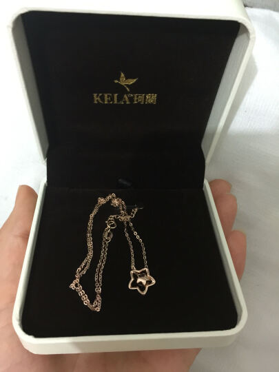 珂兰 18K玫瑰金项链 K金套链 镂空方形吊坠女 KLZW028777 晒单图