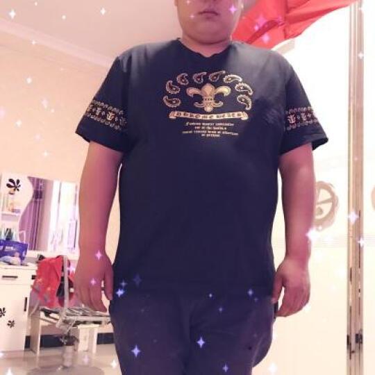 豪朗格 胖人胖子纯棉短袖t恤加肥特大号超大码肥佬半袖体恤男潮流薄款上衣夏天衣服 TX172黑色 3XL(210斤左右) 晒单图
