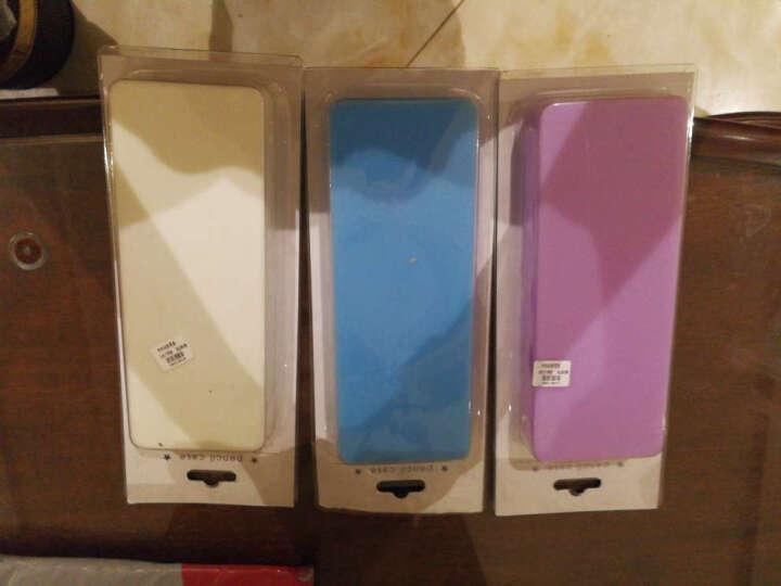 三年二班笔袋 纯色硅胶笔袋男女韩国 长方形笔盒铅笔盒 文具盒送同系列笔QX 蓝色不带笔 晒单图