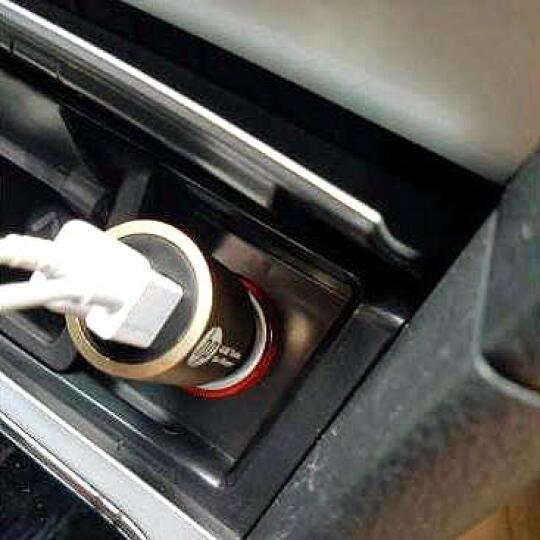 惠普/hp 车载充电器车用一拖二双USB点烟器快速充电4.8A智能手机车充 土豪金 晒单图