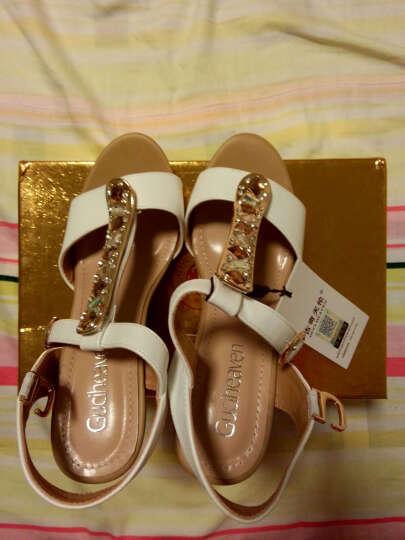 凉鞋女 2017春夏新款学生韩版坡跟露趾厚底高跟女鞋 G8Q60201H白色 37 晒单图