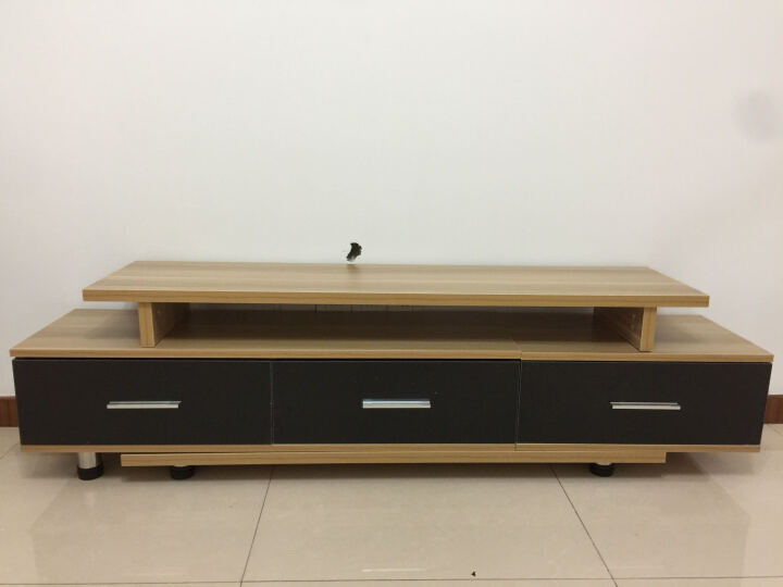 斯森易达 电视柜 现代简约伸缩电视柜组合 地柜 影视柜 单独电视柜/浅胡桃+黑色 晒单图
