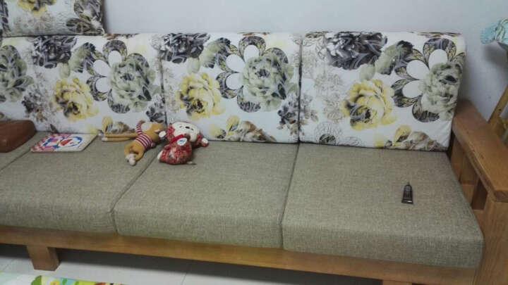 欣豪佳缘 沙发 实木沙发 布艺木质转角中式客厅组合家具沙发床 小方几 晒单图