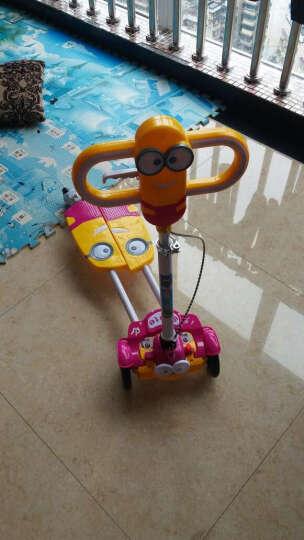 小黄人蛙式儿童滑板车四轮闪光可折叠剪刀车宝宝扭扭车滑行车儿童摇摆车 玫红色 晒单图