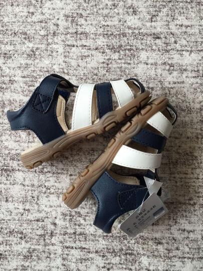 巴布豆童鞋儿童凉鞋男宝宝鞋子女童夏新软底学步皮凉鞋包头1-3岁 72260142深蓝 145mm/内长140mm 晒单图