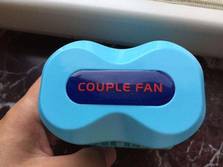 【下架】七夕情人节礼物送女友 双马达风扇USB充电风扇大风力可旋转便携风扇 生日礼物女生 迷你情侣小风扇-浅蓝色 晒单图