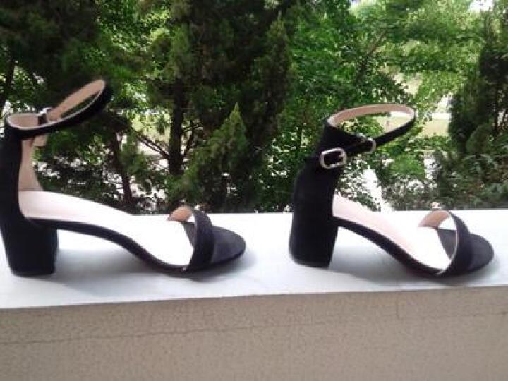 2018新款百搭性感露趾一字带凉鞋女夏粗跟韩版羊皮中跟女鞋简约高跟鞋大码鞋40-41-42 黑色5.5厘米D-7 41 晒单图