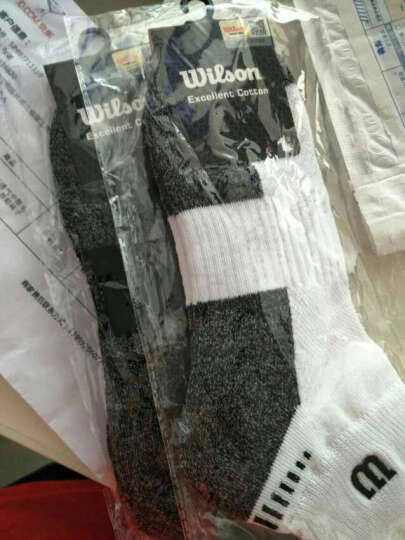 威尔胜(Wilson)三双装透气吸汗中低帮毛巾底舒适减震男篮球运动袜子 WZ041-黑色(3双装) 晒单图