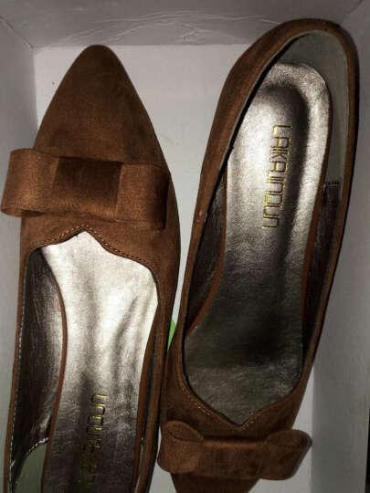 莱卡金顿单鞋女2018春夏季新款尖头方跟一字式扣带包头女鞋防水台女鞋子 LK65L10P银色 39 晒单图