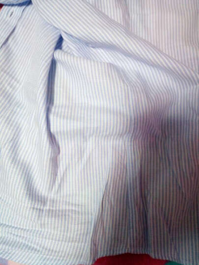 罗蒙长袖衬衫男2017新款男正装修身商务休闲职业男士免烫条纹衬衣 82浅蓝 38 晒单图