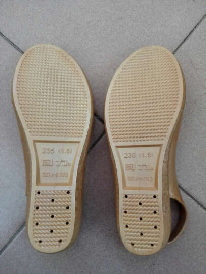 回力凉鞋女2019夏季新款工作鞋女护士鞋白色坡跟韩版沙滩鞋鱼嘴洞洞鞋女 金色 37 晒单图