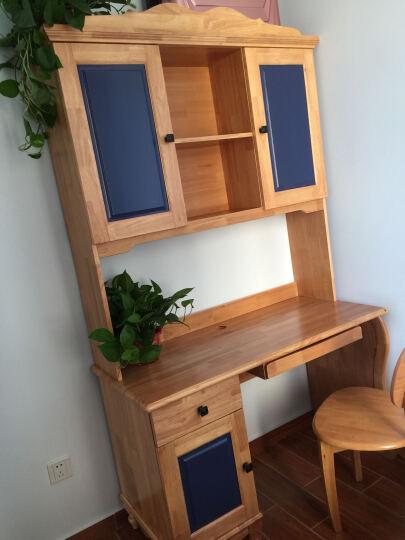 邦利达居 全实木橡胶木电脑桌台式书桌书柜组合简约美式风格 直排书桌书架电脑椅(可做蓝色) 晒单图