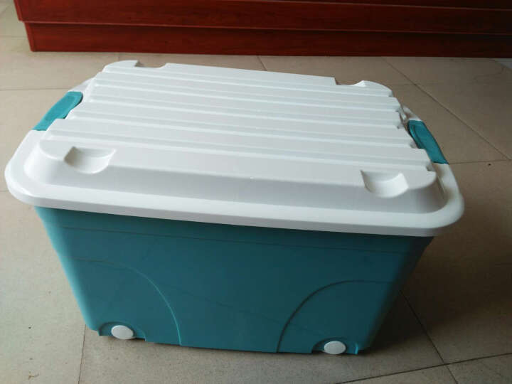 禧天龙Citylong 60L大号炫彩蒂梵红蓝收纳箱带滑轮环保塑料储物箱家用整理箱2个装 6055 晒单图