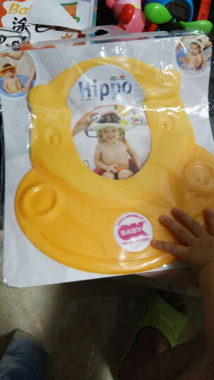 【意大利进口】OKBABY 婴儿洗发浴帽 宝宝防水头圈 儿童洗头帽 橡胶弹性调节 黄色 晒单图