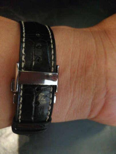 智盛手工配件鳄鱼皮表带 代用浪琴名匠表带瑰丽律雅男女真皮手表带 银扣黑皮LQ-AAA 20mm 晒单图