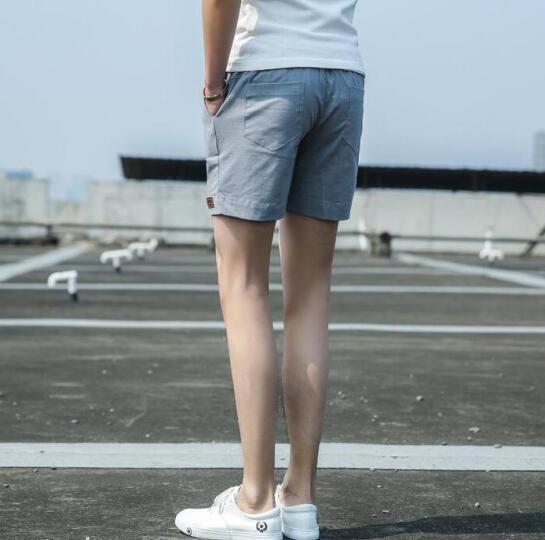 吉马克沙滩短裤男2018夏休闲五分裤修身运动休闲纯色三分裤 桔红色 M 晒单图