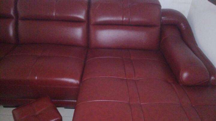 凡特斯蒂真皮沙发 牛皮沙发 客厅皮艺沙发组合左右贵妃 欧式简约现代 枣红色--进口头层皮 双+单+左贵(369*185) 晒单图