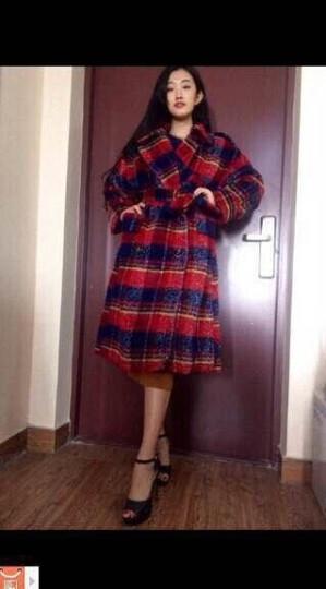 衣阁里拉欧美名媛风加厚毛呢大衣宽松大码复古格子中长款羊毛呢料外套女装9242 红蓝格9242 加小XS码/身高170CM 晒单图