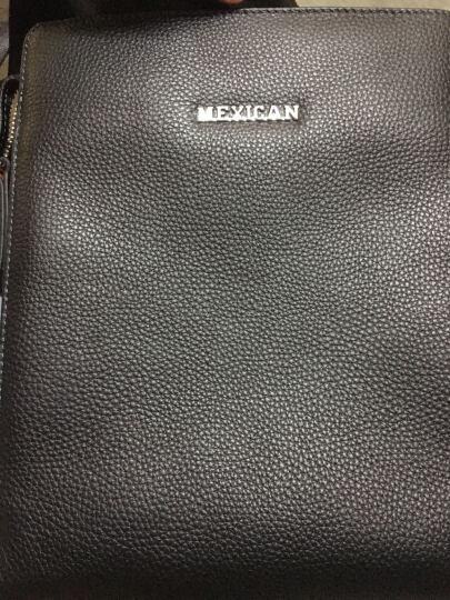 稻草人mexican欧美大牌商务休闲牛皮男包 时尚头层牛皮单肩斜挎单肩包MZU50179M-03黑色 晒单图