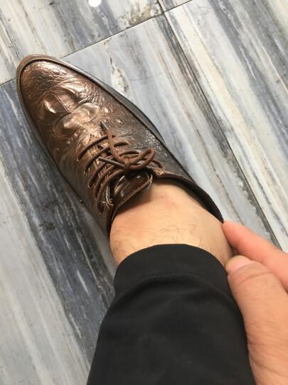A.J.BB*韩版皮鞋男春季新款厚底霸气男鞋英伦松糕内增高鳄鱼纹发型师皮鞋丰麦 金色 43 晒单图