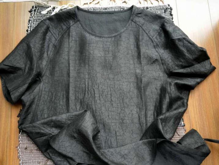 归心t恤男夏季设计师原创中国风男装桑蚕丝香云纱T恤男短袖 圆领 黑色 XXL/185 晒单图