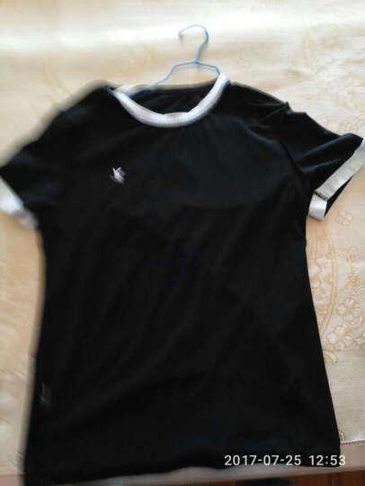 花花公子短袖T恤男V领2017夏季新款纯色棉打底衫 黑色 XL 晒单图
