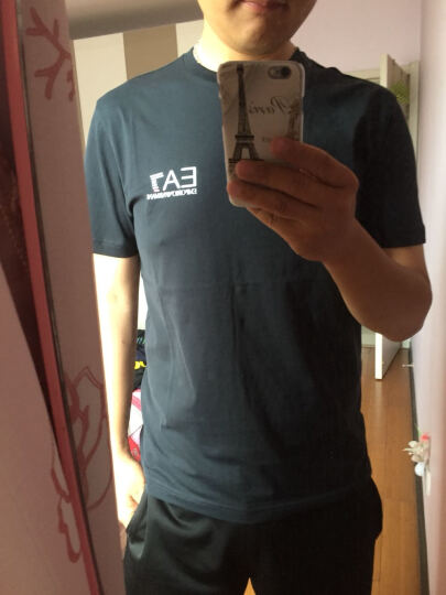 EMPORIO ARMANI EA7 阿玛尼 男士黑蓝色棉质圆领短袖T恤 3YPT51 PJ02Z 1578 XL码 晒单图