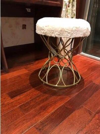 阿洛古斯 北欧梳妆凳现代铁艺换鞋凳沙发凳椅卧室公主凳化妆凳简约创意欧式圆凳梳妆台凳 (绿色)金色脚 晒单图