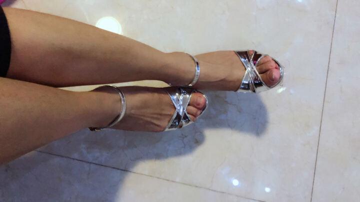YIBAIFEN衣百芬凉鞋女2017夏新款时尚高跟凉鞋细跟套脚一字式扣带防水台鱼嘴凉鞋女鞋 银色(跟高12cm) 38 晒单图