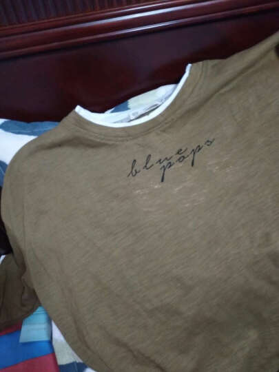 良布 设计师潮牌男 新款港仔风潮流宽松款男士落肩袖男士短袖T恤青年半袖t恤打底衫 驼色假两件 M 晒单图