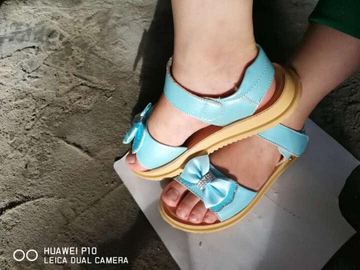 闪卡女童凉鞋 夏季沙滩儿童凉鞋牛皮中大童韩版女孩童鞋公主鞋2017新款 818-白色 31码/内长20cm 晒单图
