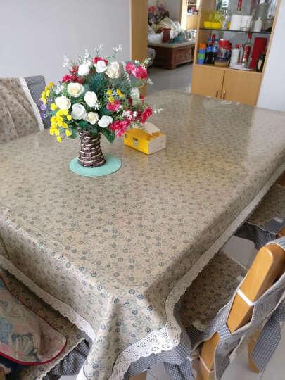 锦色华年致雅蓝蕾丝花边桌布台布 美式田园布艺桌布 餐桌茶几布 碎花面格子边 130*180cm 晒单图