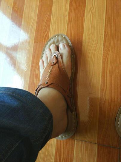 黑牧尔 夏季新款人字拖 男鞋凉拖鞋 男士休闲凉鞋户外沙滩鞋透气凉拖鞋 HY14102 黄棕色 42 晒单图