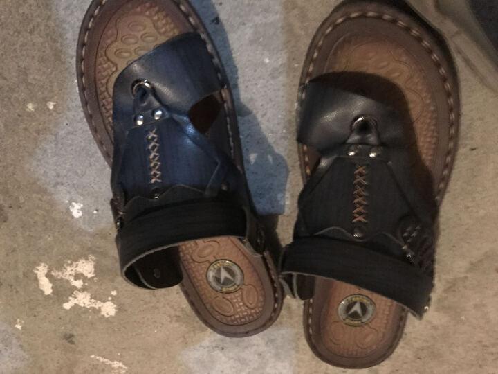 凉鞋男防滑越南沙滩鞋休闲夹脚男士凉鞋韩版透气休闲人字拖凉拖鞋两用 深蓝802 42 晒单图