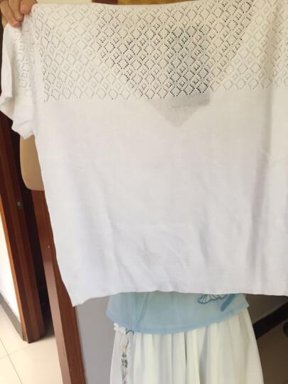祥震开衫女夏薄短款外搭小披肩外套薄款女士白色短袖镂空针织衫 v领黑色 XL 晒单图