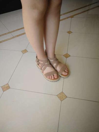 路添彩 凉鞋女真皮平跟夏凉鞋 女学生韩版鱼嘴金属舒适百搭一字带女士夏季凉鞋粗跟 棕灰色 38 晒单图