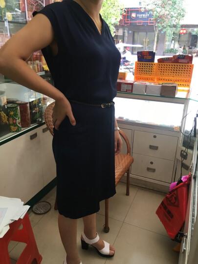 若芭莎真丝连衣裙女中长款夏装新品桑蚕丝V领宽松气质中裙 8559酒红 L 建议95-105斤左右 晒单图