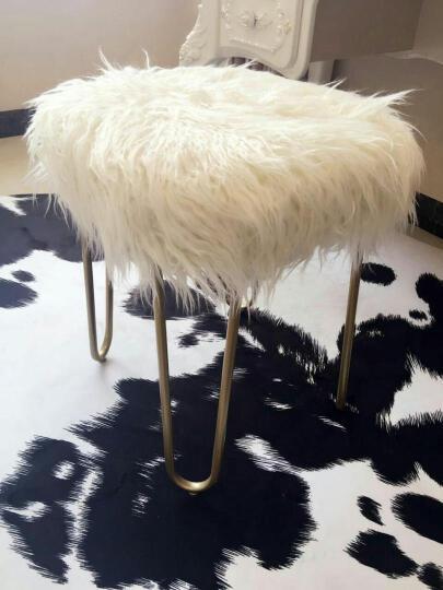 阿洛古斯 北欧梳妆凳现代简约小户型时尚梳妆椅白色长毛凳子椅子欧式卧室凳床头凳化妆凳床尾凳 白色长毛(金色脚) 晒单图