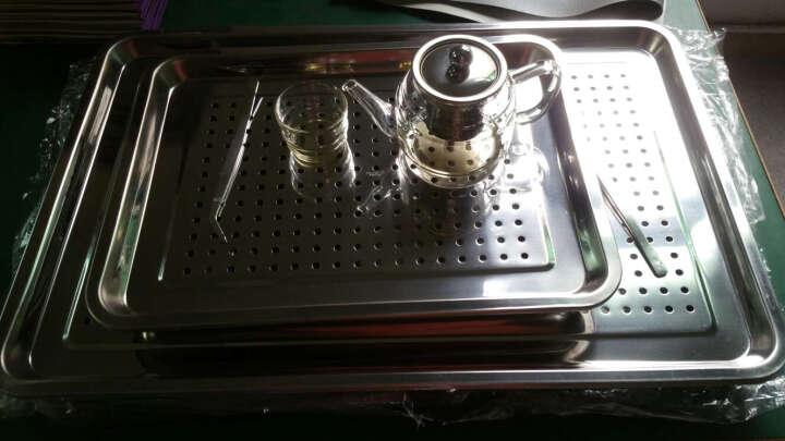 苏悦 不锈钢茶盘 双层茶池茶盆茶海 长方形托盘漏水盘冲孔方盘沥水盘 冲孔储水盘 40*30茶盘 晒单图