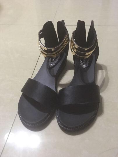 名曼凉鞋女夏季浅口露趾 低跟女士凉拖鞋 夏天后包跟拉链女生鞋子 黑色 36 晒单图
