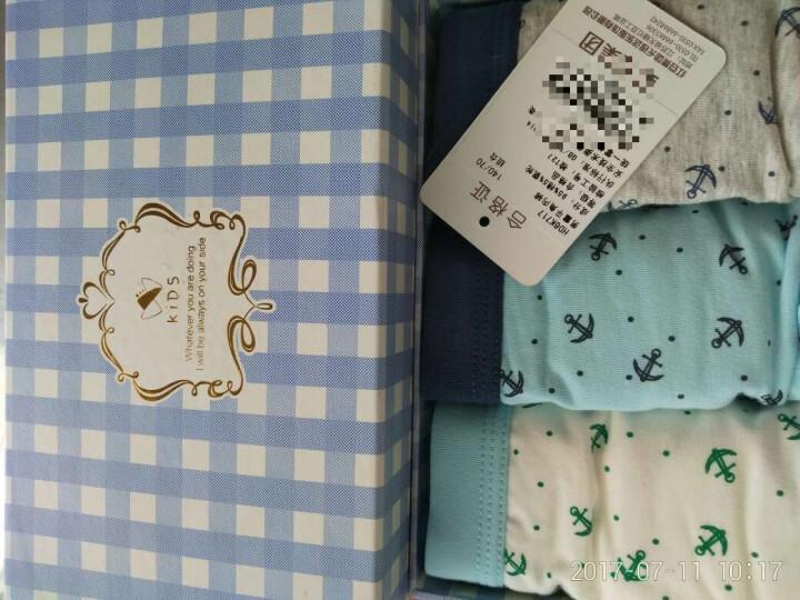 红豆(Hodo)男童内裤儿童内裤男平角3条盒装A类标准HD6K717蓝白灰140/70 晒单图