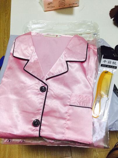 玛宝娜 睡衣女夏仿 真丝睡衣套装女士夏季短袖冰丝绸性感甜美家居服 MBN-011宝蓝色(短袖款) XL 晒单图