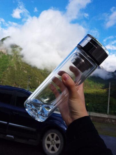 ENO 双层玻璃杯 男女带盖商务水杯办公杯 车载加厚水晶杯子 带滤网茶杯 礼盒装 黑蓝色杯盖 380ml 晒单图