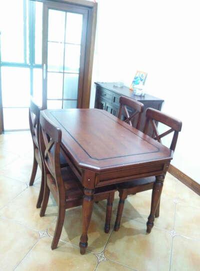 嘉嘉尚彩 餐桌 美式乡村实木餐桌椅组合简约长方形小户型欧式餐厅套装定制尺寸家具饭桌 浅色(胡桃色) 1.6米餐桌(红椿木)+6把餐椅 晒单图