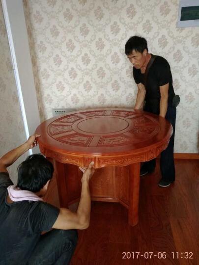鸿达百木 实木仿古餐桌椅椅组合 橡木大中小户型圆形家具酒店茶楼饭桌餐椅套 1.3米+6张象头椅 晒单图